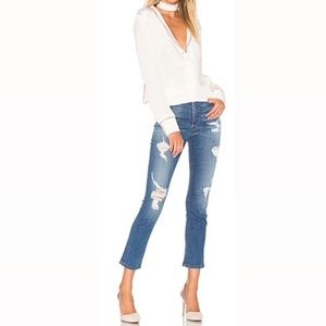 Level 99 High Rise Distressed Straight Jean #634
